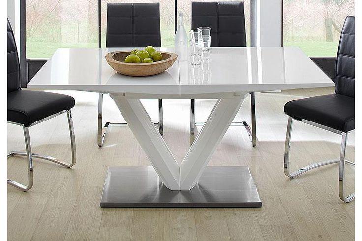 Valerie fehér magasfényű asztal  160-220x77x90cm