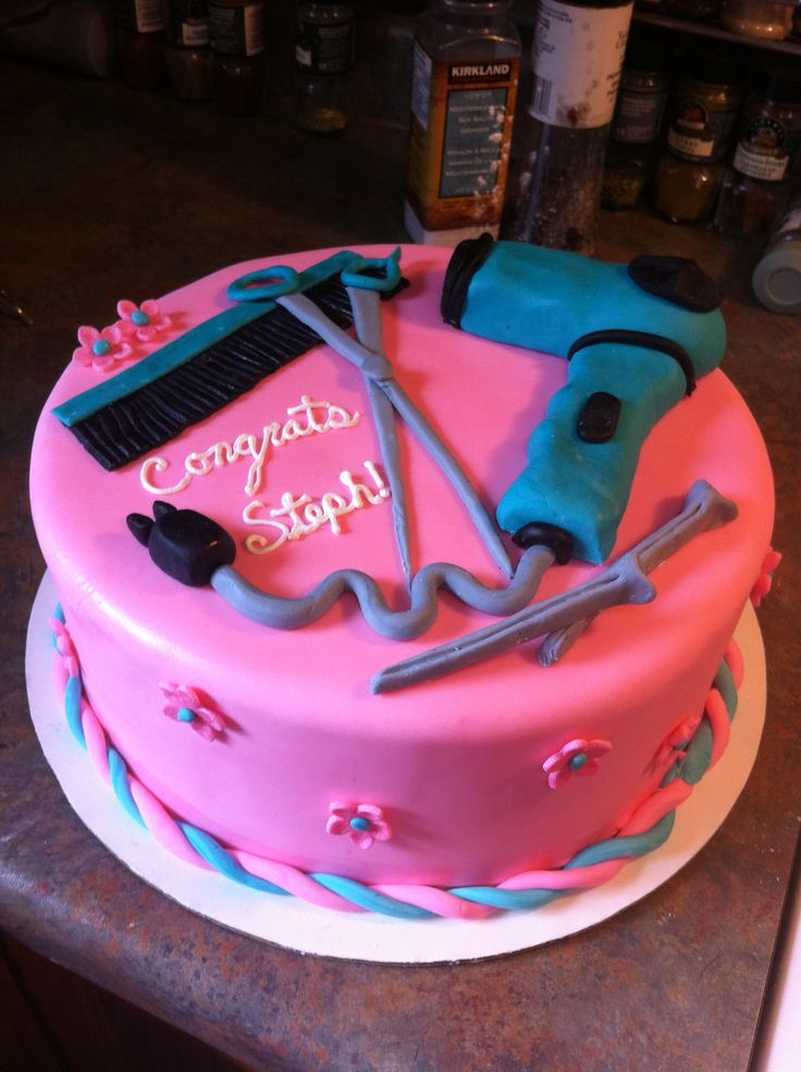 Cake for a friend that just graduated cosmetology school.