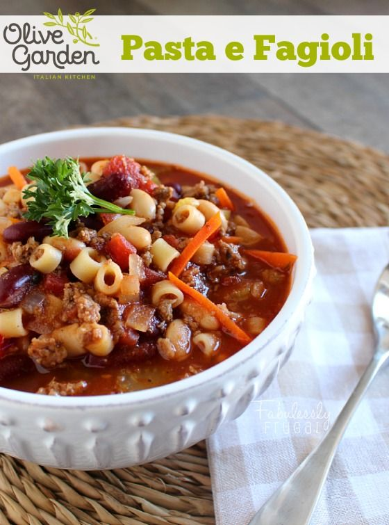 This is a great Olive Garden copycat recipe for Pasta e Fagioli. It freezes well too!