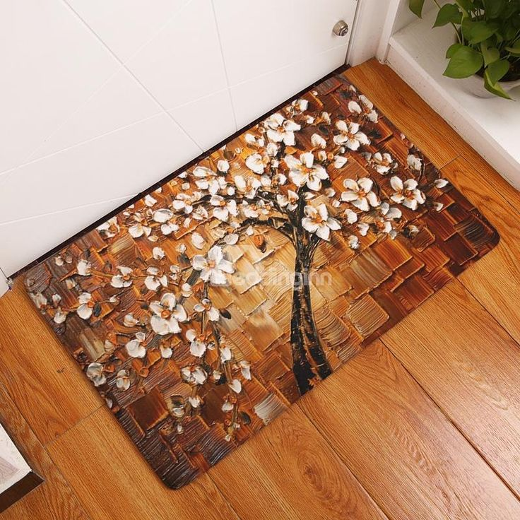 Magnolia Tree Printed Oil Painting Flannel Brown Bath Rug/Mat