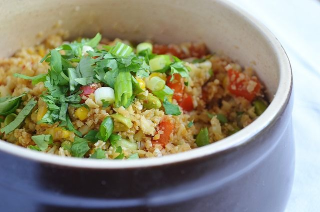 "Cauliflower Fried ""Rice"" with Grilled Asian Tofu 
