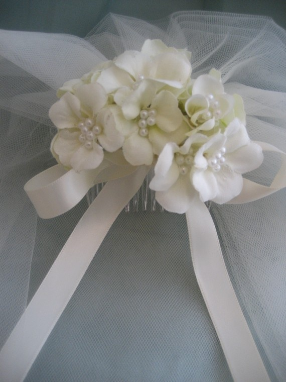 First Communion Veil with comb option of offwhite or by anniee82, $29.00