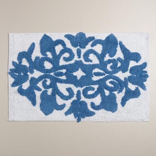 One of my favorite discoveries at WorldMarket.com: Mediterranean Blue and White Medallion Bath Mat
