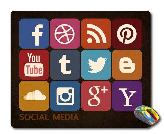 social network icons mousepad Computer Mouse pad Social media icons Mouse Mat Office Accessories Social icons Office mouse pad Office gifts