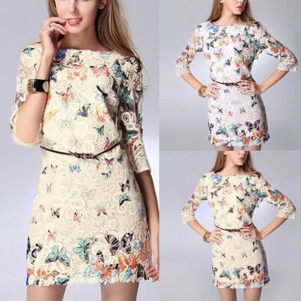 Find More Dresses Information about Sexy Womens Dress Crewneck Floral Butterfly Lace Causal Summer Mini Party Dress,High Quality Dresses from Snow Mountain Fly Fox on Aliexpress.com