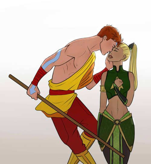 wally west and artemis young justice dc comics fan art PLUS an avatar the last airbender crossover?! Just perfect :)
