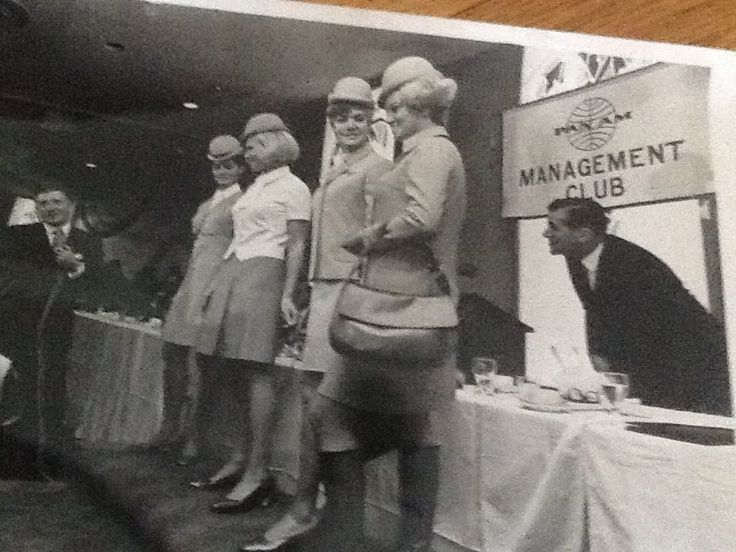 """Pan Am stewardess Beverly Elliott: """"This was the very first time this uniform had been seen. We were modelling for the Pan Am Management Club in JFK."""""""
