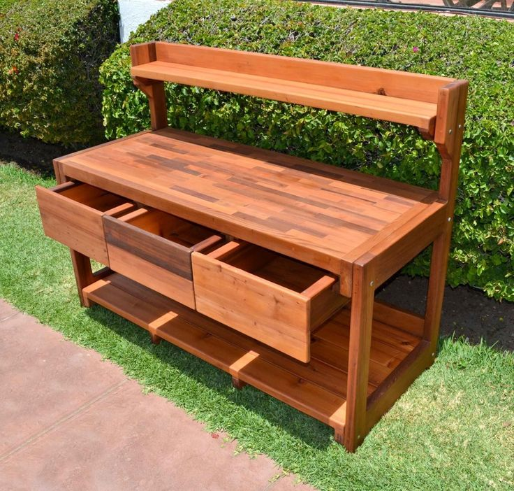 Attractive minimalist brown wood color potting table with three drawer cool outdoor potting Potting bench ideas