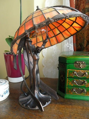 Art Deco Flying Lady Figurine Tiffany Stained Glass Table Lamp Light | EBay