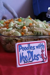 "Great Seuss party theme ideas on this blog.  Love the ""Poodles with Noodles"" and ""Yertle's Turtles""."