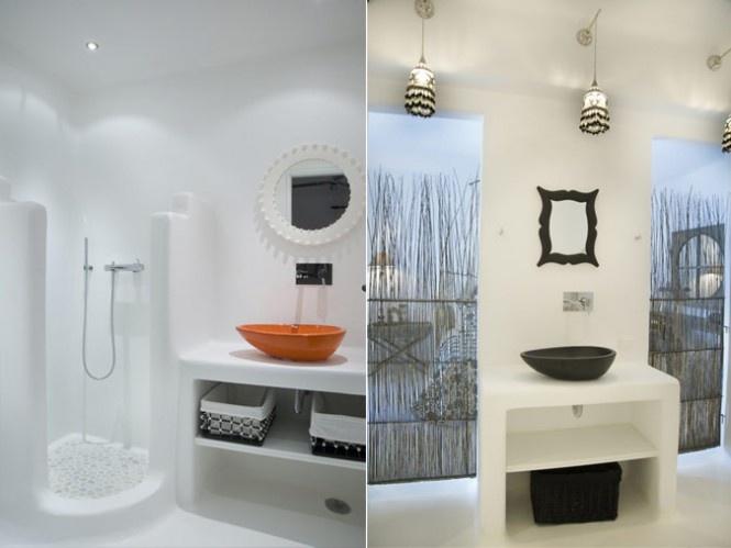 White Mina One Villa for Enjoying Vacation : Greek Luxury Bathroom Villa In Mykonos Orange Sink