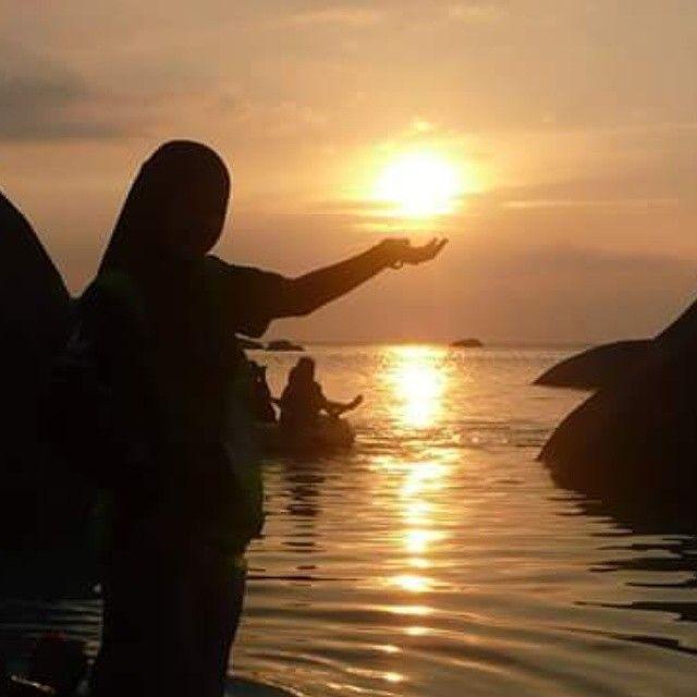 Sunset in Tanjung Tinggi Beach Tanjung Pandan Belitung Indonesia