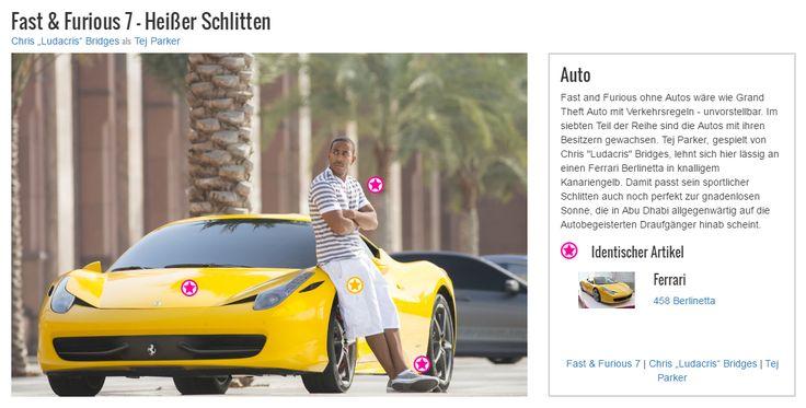 """Fast and Furious ohne Autos wäre wie Grand Theft Auto mit Verkehrsregeln - unvorstellbar. Im siebten Teil der Reihe sind die Autos mit ihren Besitzern gewachsen. Tej Parker, gespielt von Chris """"Ludacris"""" Bridges, lehnt sich hier lässig an einen Ferrari Berlinetta in knalligem Kanariengelb. Damit passt sein sportlicher Schlitten auch noch perfekt zur gnadenlosen Sonne, die in Abu Dhabi allgegenwärtig auf die Autobegeisterten Draufgänger hinab scheint."""