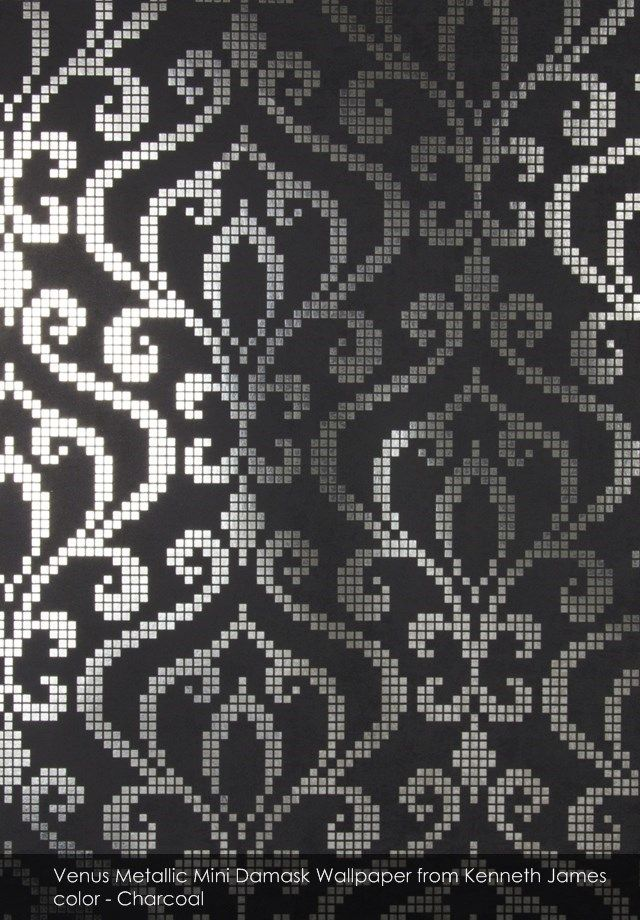 Venus Metallic Mini Damask wallpaper from Kenneth James in Charcoal