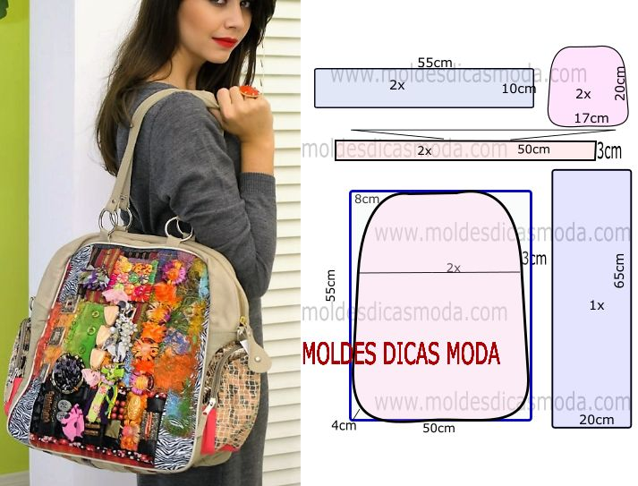 A ilustração do molde de bolsa colorida não tem valor de costura tem que ser acrescentado. Faça o molde em papel para fazer alguma correcção necessária.