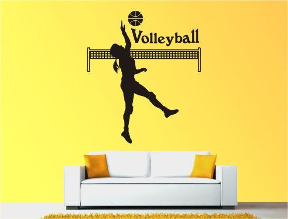 wall vinyl decal volleyball player removable stickers bed room home decor 55 b