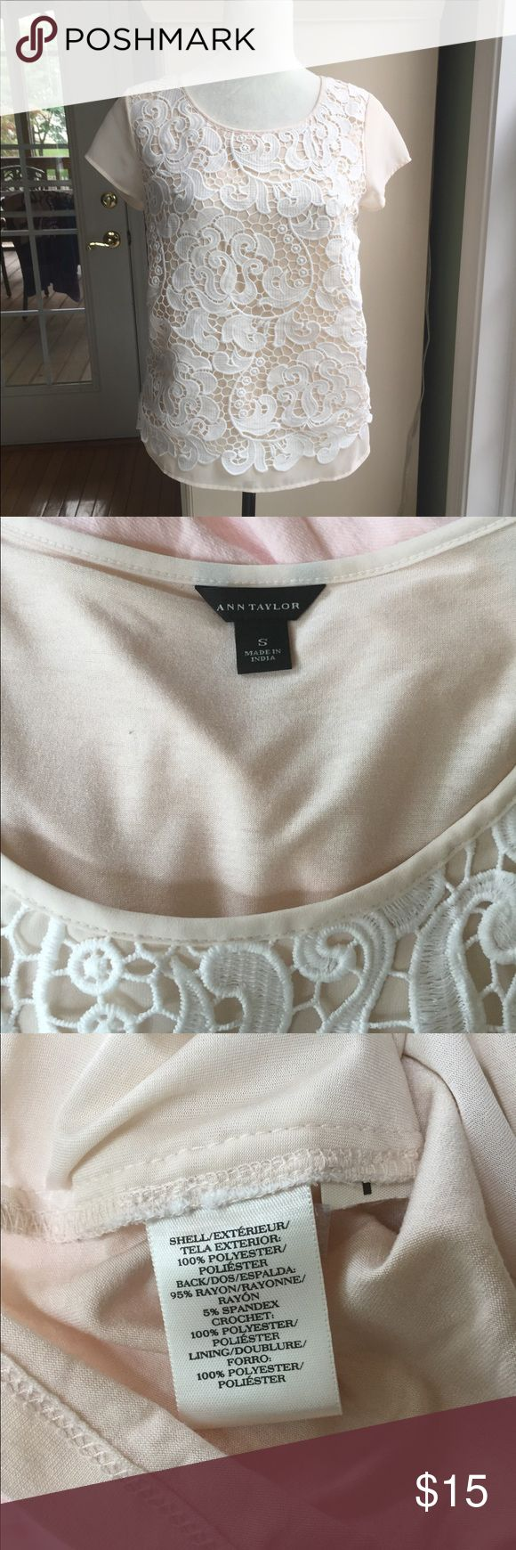 Ann Taylor lace cream top Ann Taylor cream/nude tee with lace overlay.  Size small. Rayon/polyester blend. Ann Taylor Tops