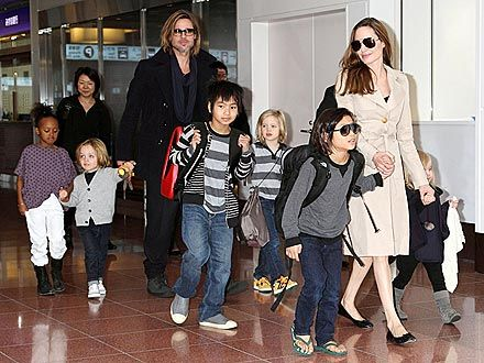 Angelina Jolie, Brad Pitt and their kids: Maddox, Zahara, Shiloh, Pax, Knox and Vivienne