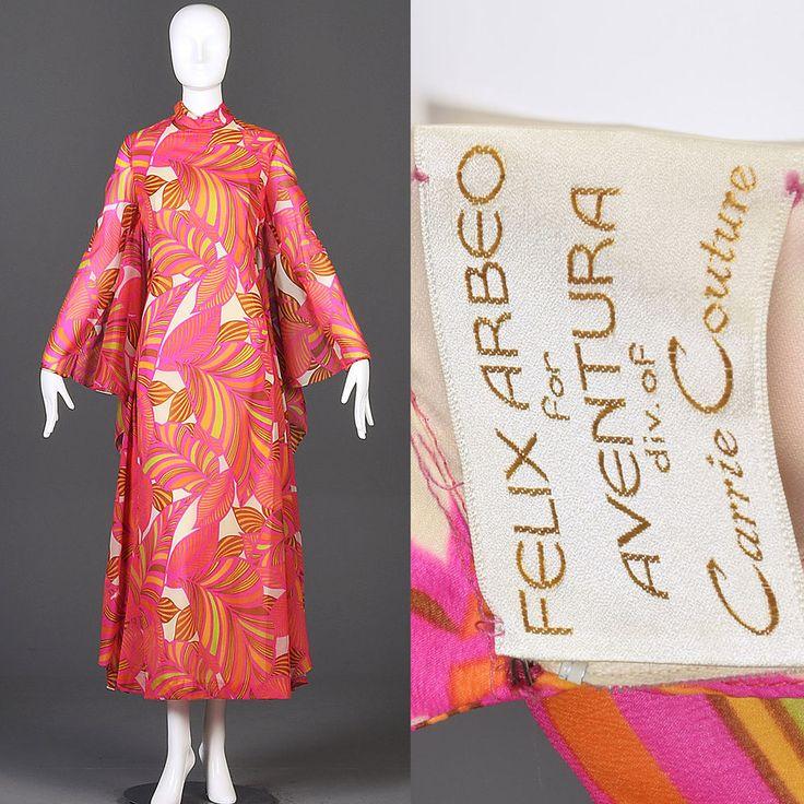 XL Vintage 70s 1970s Long Sleeve Maxi Dress Batwing Caftan Psychedelic Pink #NoBrand #Maxi #Festive