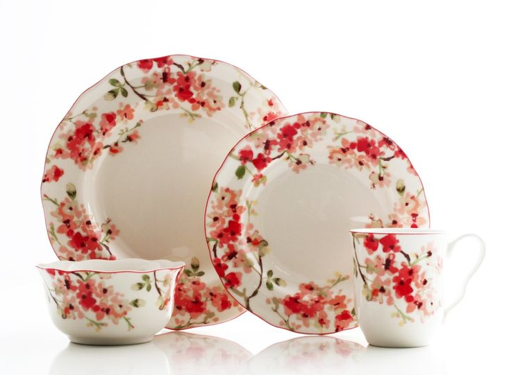 Features -Cherry blossom floral pattern. -Dishwasher microwave safe. Color · Dinnerware SetsPorcelain ...  sc 1 st  Pinterest & 98 best Dinnerware images on Pinterest | Dish sets Dinnerware sets ...
