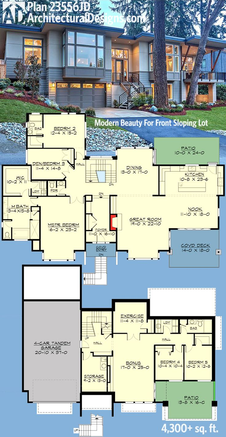Plan 23556jd modern beauty for front sloping lot modernes haus plänemoderne