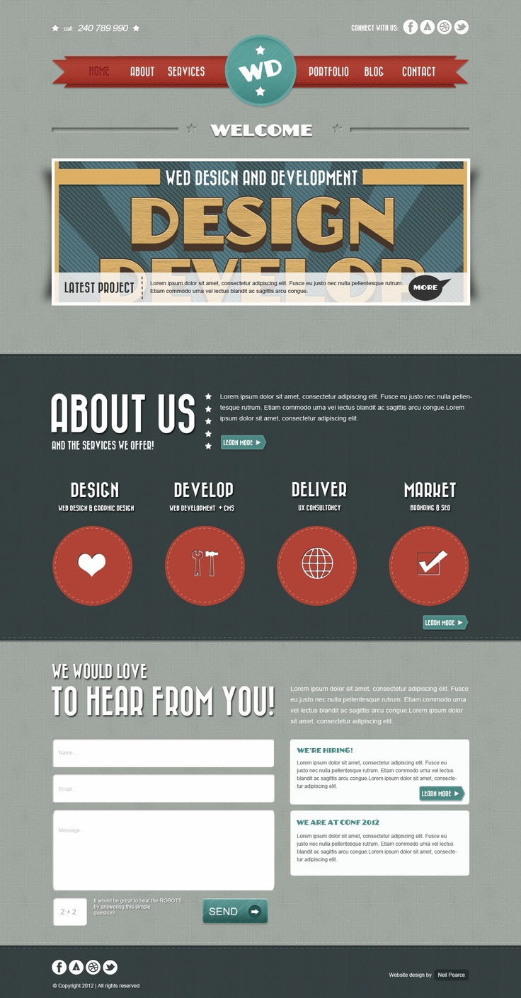 Retro Website Layout Free PSD