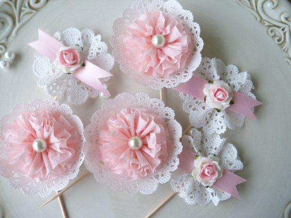Shabby Chic Secret Garden Cupcake Toppers for Birthday by JeanKnee