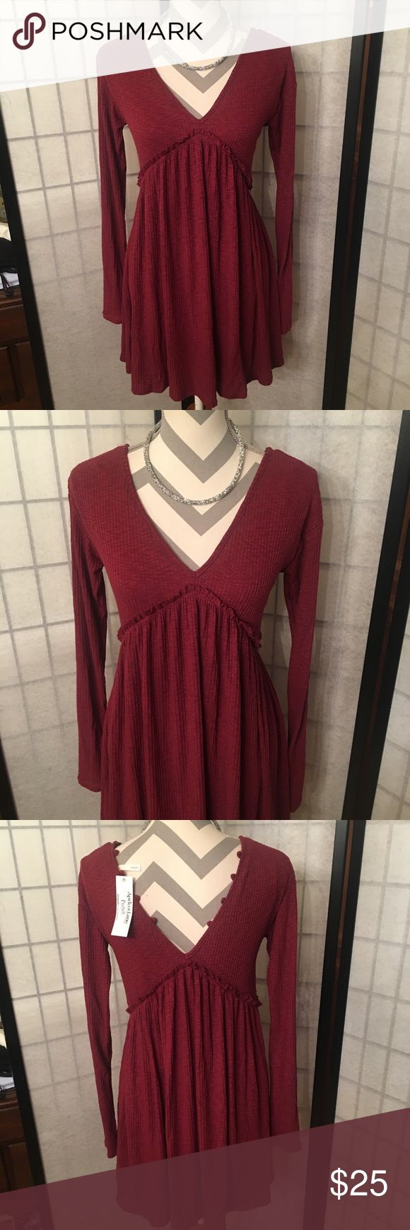 Apricot Lane Boutique Dress NWT Long Sleeve V Neck Angel of mine long sleeve dress from Apricot Lane. New with tags. Size small. Burgundy color. Paid $48.  Follow me to see new items, I'm happy to bundle :)   Clean, non smoking home. Sage Dresses Long Sleeve