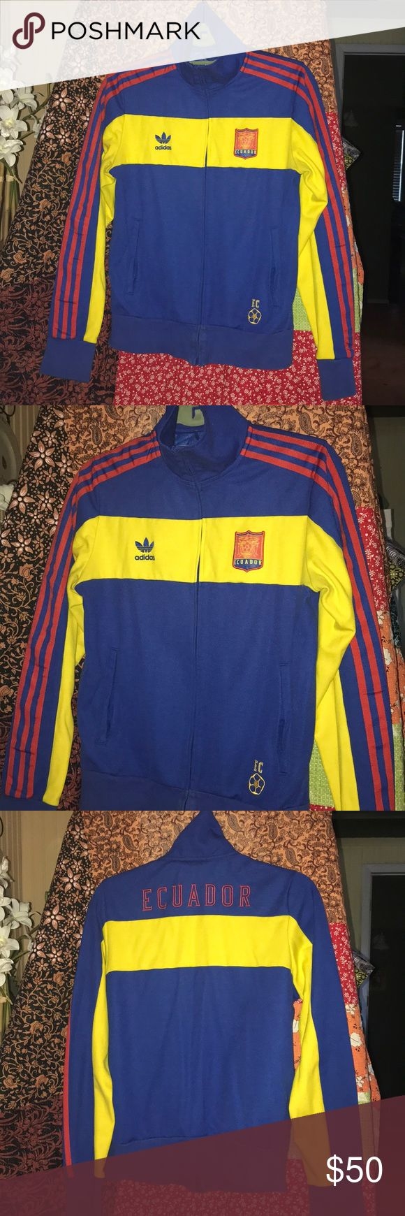 Adidas Ecuador Futbol Soccer Track Jacket Men's L Authentic Adidas Ecuador Track Jacket Circa 2006. Mens Large, Euro Size 44. Fitted, as their track jackets tend to be. No flaws to be seen except tiny bit of usual fading at zipper as seen in photo. adidas Jackets & Coats Performance Jackets