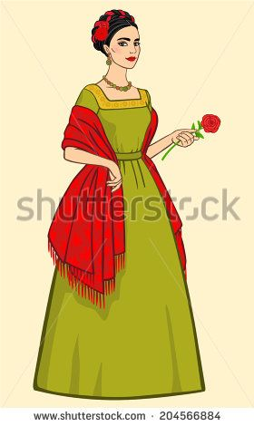 Beautiful Mexican woman in ancient clothes with a rose in the hand, isolated on a beige background