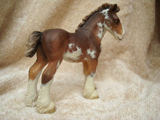 Custom Schleich Clydesdale Foal to Bay Sabino by Christina Riley