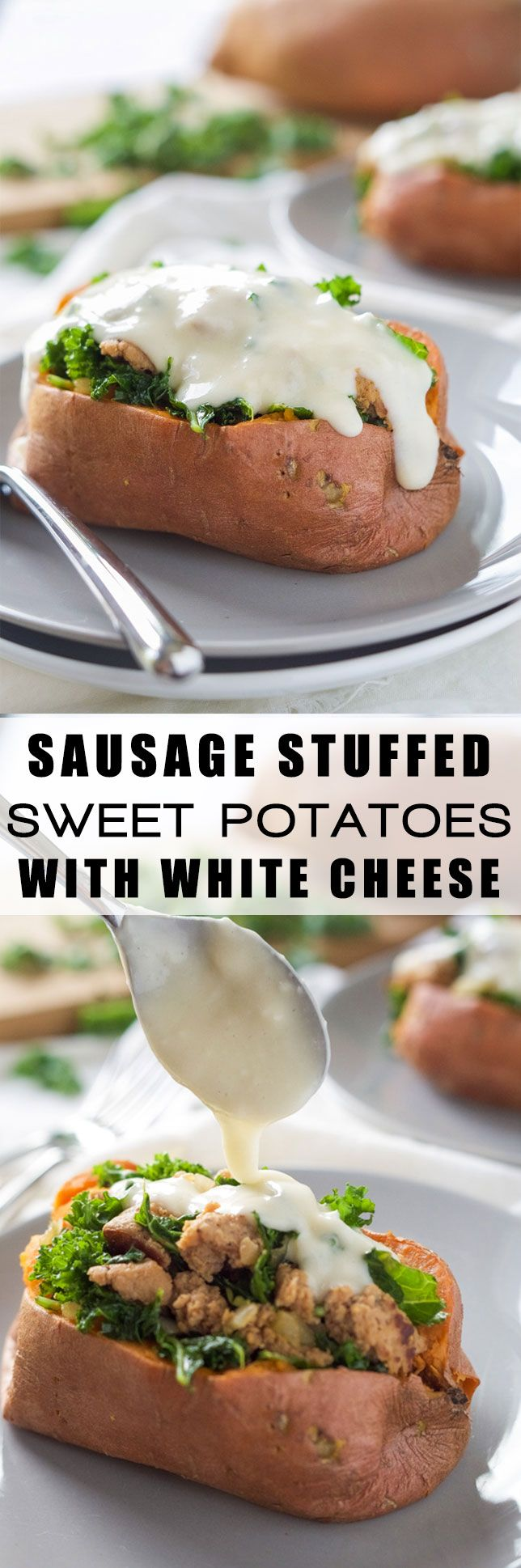 20 Minute Kale And Sausage Stuffed Sweet Potatoes With White Cheese Sauce