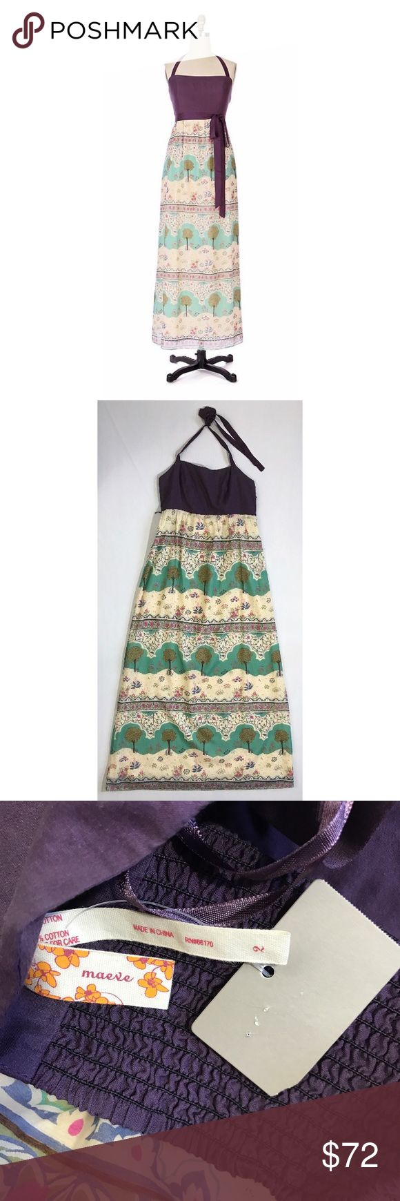 """Anthropologie Maeve Silk Maxi Printed Halter Dress Anthropologie Skoura Idyll Maxi Halter Dress. NWT size 2. By Maeve. The ribbon belt is missing!!!  Pull-on construction; Cotton, silk; cotton lining; Dry clean. Armpit to armpit 15"""", waist 14"""" flat, hips about 22"""" flat, length about 53"""". Zips up the side and has slight stretch at the back of the chest and waist. Super lightweight. Anthropologie Dresses Maxi"""