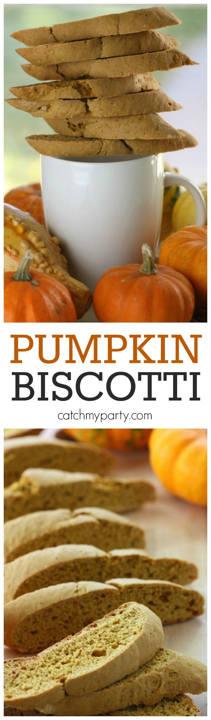 This is the most delicious pumpkin biscotti recipe. It's made with whole ingredients and tastes like pumpkin and cinnamon, with great crunch. It would great to serve with coffee on Thanksgiving! See more Thanksgiving ideas at CatchMyParty.com.  #quickerpickerupper
