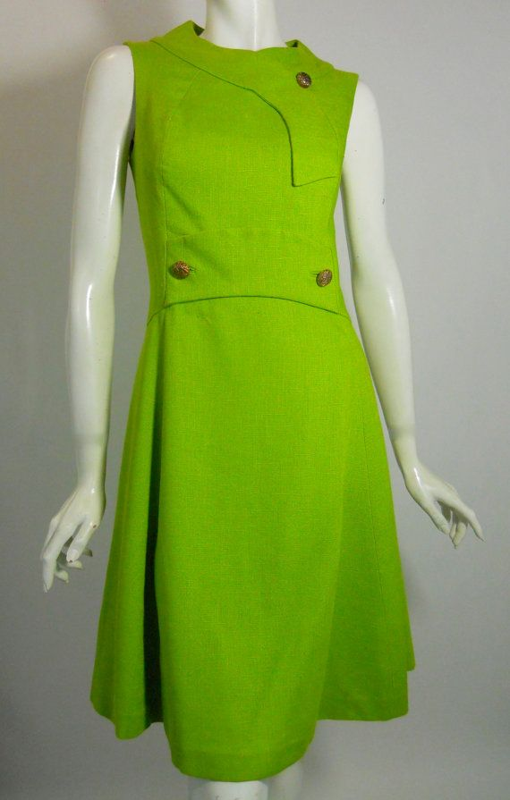 Vintage Grass Green A-Line Mod Dress 1960s