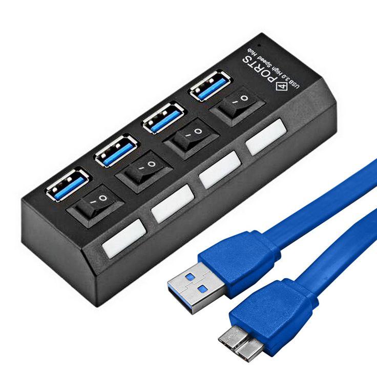 Portable micro usb 3.0 hub super speed 5 gbps 4 puertos mini USB 3.0 HUB Con Interruptor Separete Ordenador Cable Adaptador Del Divisor Del USB