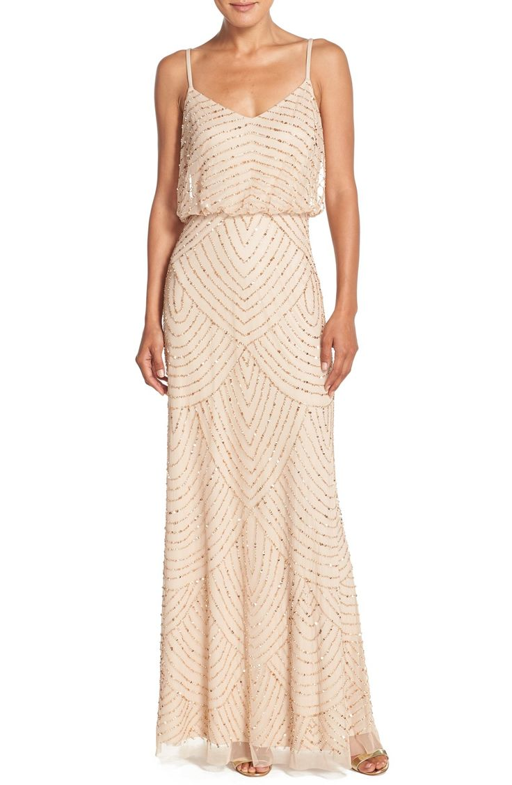 Adrianna Papell Embellished Blouson Gown (Regular & Petite) | Champagne