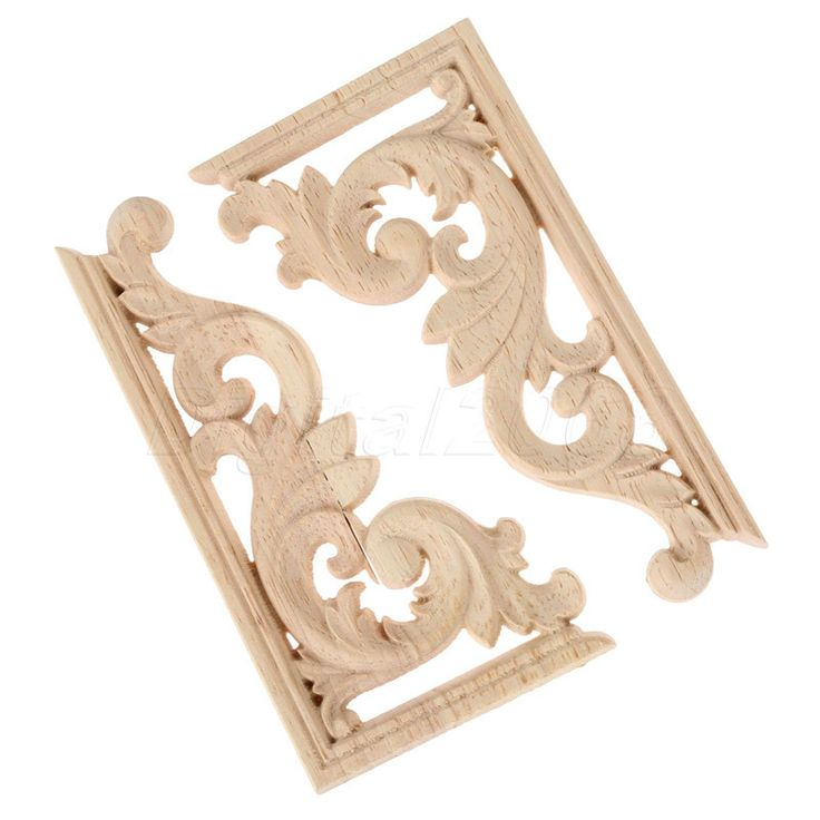 A Pair 13*7*0.8CM Left And Right  Wood Carved Corner Onlay Applique Unpainted Furniture Decor Frame Decal carpenter Decoration