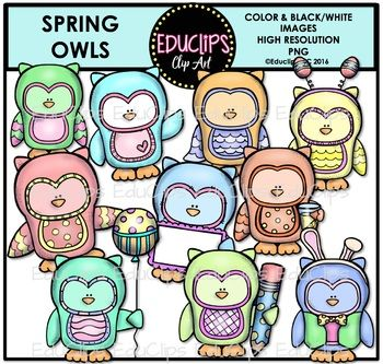 This is a set of images connected with Spring OwlsThe images included in this set are: owls in various spring colors and poses with accessories including head bands, banners, balloon and pencil.This set contains all of the images shown.20 images (10 in color and the same 10 in B&W)Images saved at 300dpi in PNG files.For personal or commercial use.CLICK HERE for TERMS OF USEThis is a zip file.