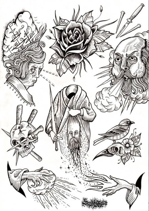 scott move - flash designs - tattoos - use of line - influential - creepy - wizard.