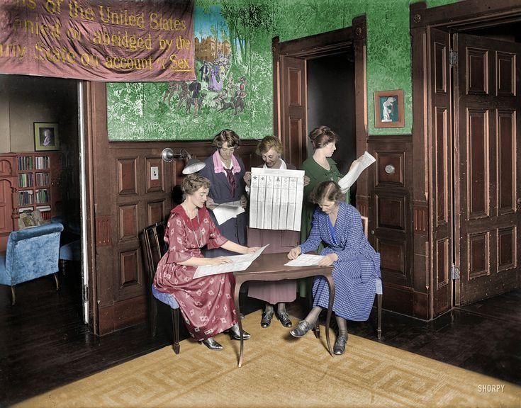 """Shorpy Historical Photo Archive: Washington, D.C., 1920. """"Suffragettes voting."""" (Colorized Photo) 1920."""
