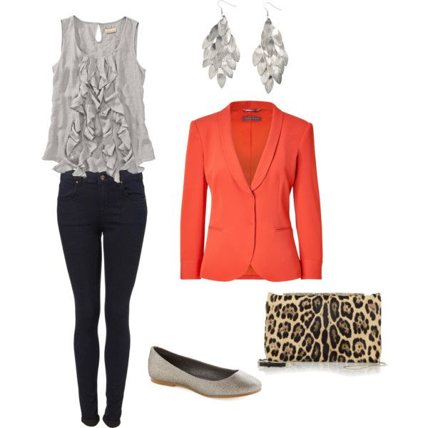 I wore an outfit very similar to this to work the other day.  It is a very comfortable outfit and the coral blazer is a great pop of color. I made this on my polyvore account