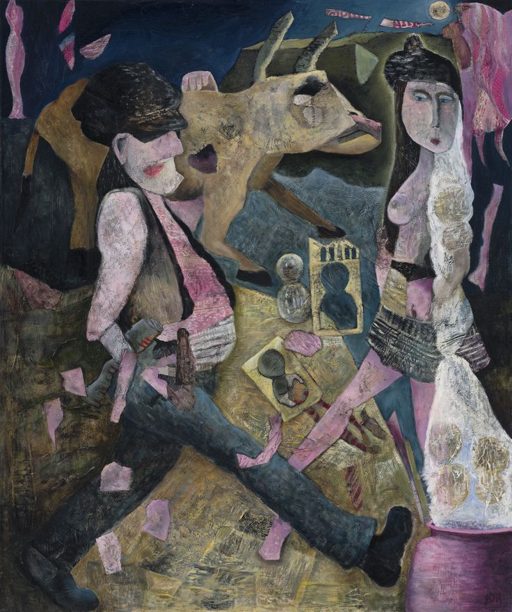 The Dowry, paper collage and oil painting