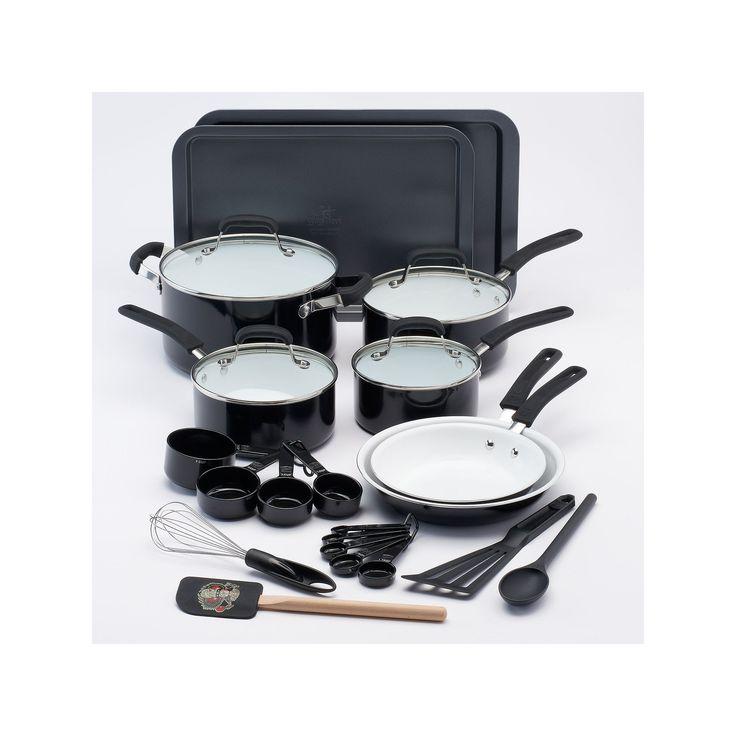 Guy Fieri 25-pc. Ceramic Nonstick Cookware Set, Black