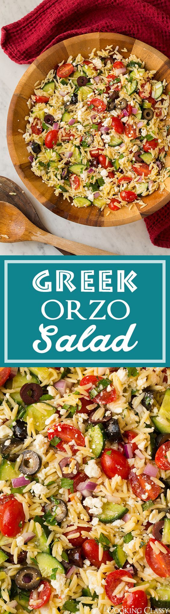 Greek Orzo Salad ~ 1¼ cups (8 oz) dry orzo, 1 cup (5 oz) crumbled feta, 1 diced medium cucumber, 10.5 oz pkg grape tomatoes halved,  ½ cup sliced kalamata olives or ¾ cup sliced black olives, ½ cup chopped red onion, 3 Tbsp chopped fresh basil,  2 Tbsp chopped fresh parsley. Dressing: ⅓ cup EVOO, 3 Tbsp fresh lemon juice, 1 clove minced garlic, salt & black pepper to taste