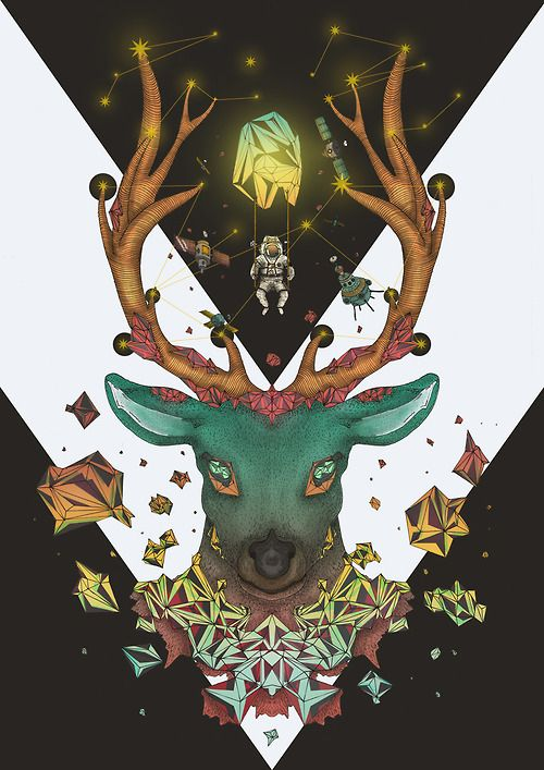 Title: Cosmic Deer  Artist Name: Damiano Rosa / onelazuli  Tumblr: onelazuli.tumblr.com