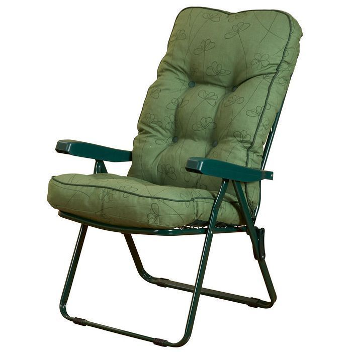 Foldable Armchair Recliner Green Cushions Steel Frame Garden Outdoor Furniture