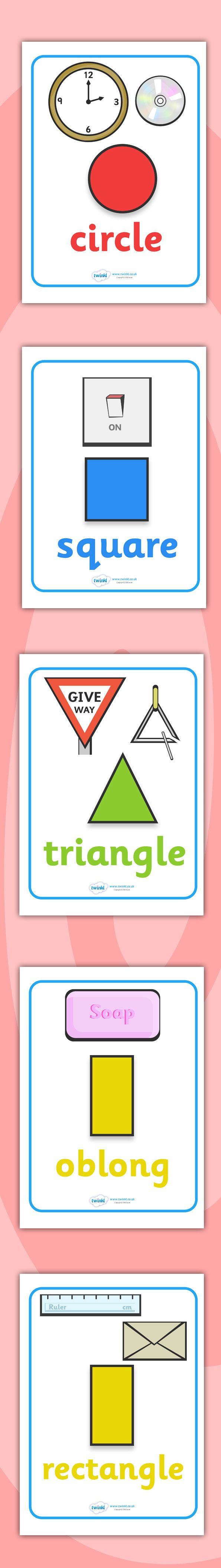 Twinkl Resources >> 2D Shape Posters with Everyday Examples >> Printable resources for Primary, EYFS, KS1 and SEN.  Thousands of classroom displays and teaching aids! Numeracy, Maths, Shapes