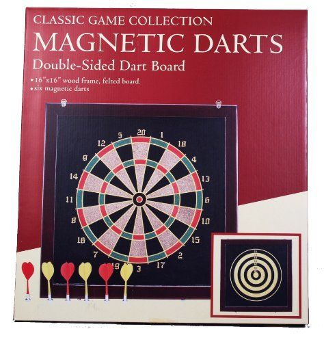 """Classic Game Collection Double-Sided Magnetic Dart Board Set by Classic Game Collection. $24.99. From the Manufacturer                Classic Game Collection Double-Sided Magnetic Dart Board Set. 16"""" x 16"""" Double-Sided Magnetic Dart Board, Wood Frame Dart Field. Includes 6 Magnetic Darts. Felt Landing Field                                    Product Description                16 X 16"""" wood frame, felted board.  Includes six magnetic darts.. Save 17%!"""