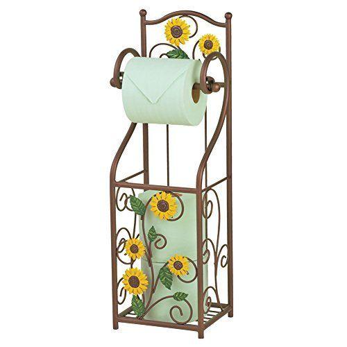 Sunflower Scroll Toilet Paper Holder - sunflower bathroom accessories